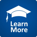 "graphic of white graduation cap and the words ""Learn More"""