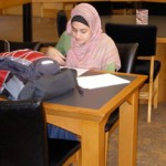 female student studying in LRC